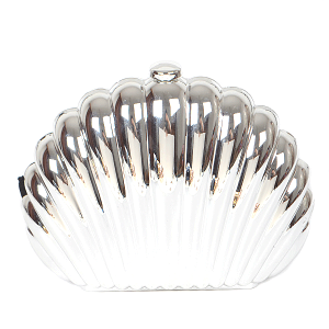 3AM PPC6187 Sea Shell metallic clutch silver