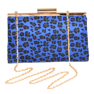 3AM PPC6387 leopard print fashion clutch cobalt blue
