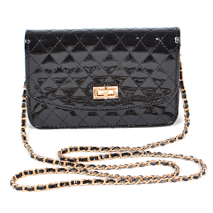 3AM PPC6457 glossy quilted crossbody clutch black