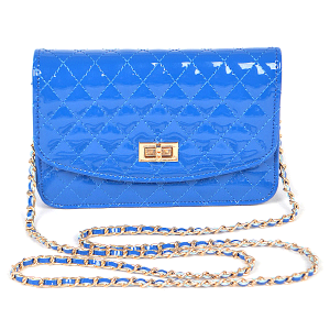 3AM PPC6457 glossy quilted crossbody clutch cobalt blue