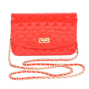 3AM PPC6457 glossy quilted crossbody clutch red