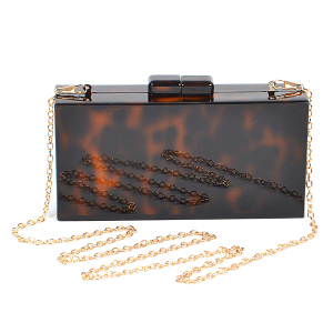 3AM PPC6490 acrylic rectangle leopard clutch
