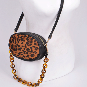3AM PPC6536 leopard print oval crossbody black