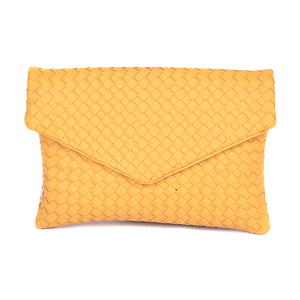 3AM PPC 6676 envelope clutch woven braid yellow
