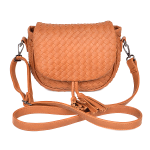 3AM PPC6846 crossbody braided tassel camel