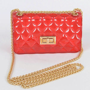3AM PPC6942 fold over flap semi transparent quilted crossbody red