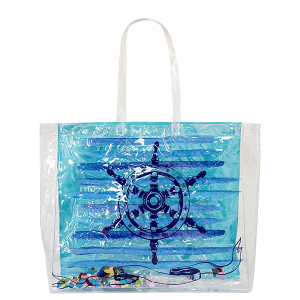 AF PS 0030-1 beach tote transparent anchor blue