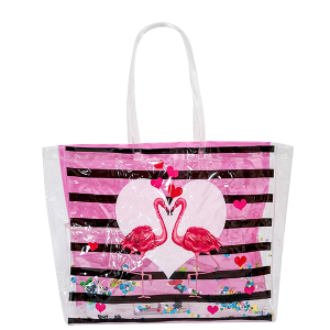 AF PS 0030-6 beach tote transparent flamingo pink