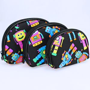 luggage 1003 3pc oval cosmetic pouch robot black