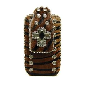 NS RCH CC002 cell phone case cross faux fur zebra brown black