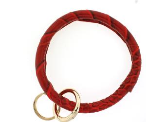 Keychain 156 22 No.3 round keychain leather like croc red