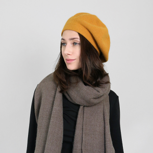winter cap 094 30 KW soft beret mustard