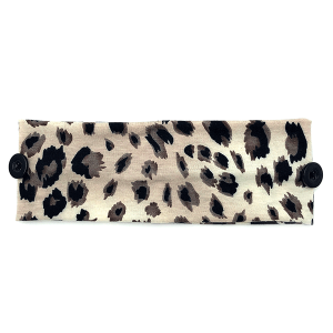 Headband 025a 30 KW leopard print button headwrap brown