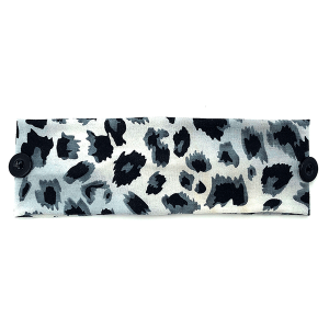 Headband 023a 30 KW leopard print button headwrap gray