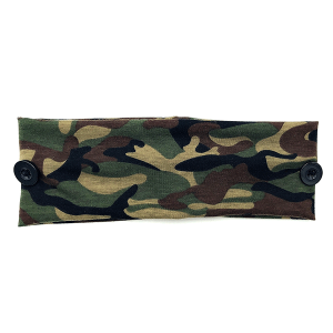Headband 433a 30 KW camo print button headwrap green