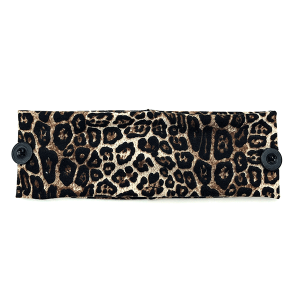 Headband 351a 30 KW leopard print button headwrap brown