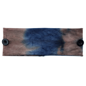 Headband 323a 30 KW tie dye print button headwrap navy