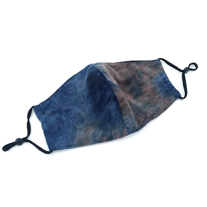 Face Mask 405a 30 KW tie dye mask with filter pocket multi navy