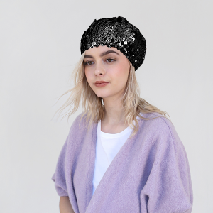 winter cap 019 30 KW sequin beret black