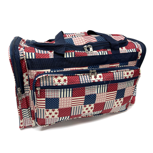 22 inch duffel bag T22-238 stars and stripes patch print multi