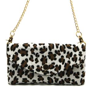 Toami TG10083 faux fur mini crossbody wallet leopard white brown