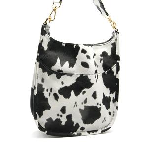 Toami TG10171 front pocket crossbody bag leatherette cow black white