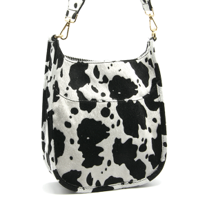 Toami TG10171 front pocket crossbody bag faux fur cow black white