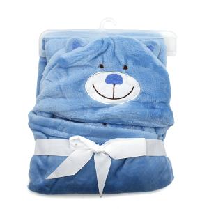 Hooded baby towel TW-1003 bear light blue