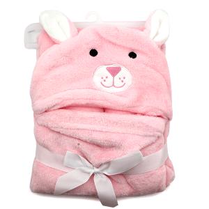 Hooded baby towel TW-1003 bear pink