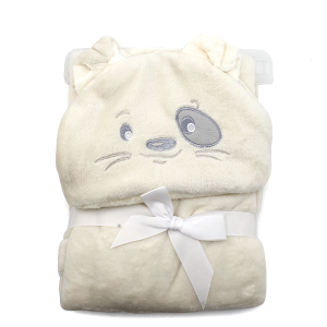 Hooded baby towel TW-1004 dog ivory
