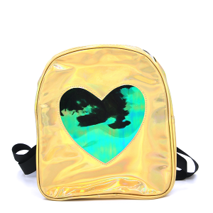 Backpack UBP-7970D Iridescent Heart Yellow
