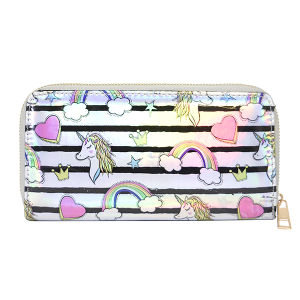 AF WA0068-2 unicorn stripe iridescent wallet