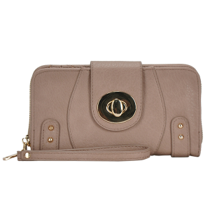MMS WLT 44971 twist lock fashion wallet taupe