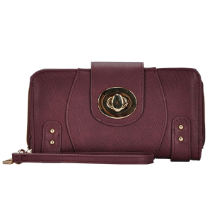 MMS WLT 44971 twist lock fashion wallet wine