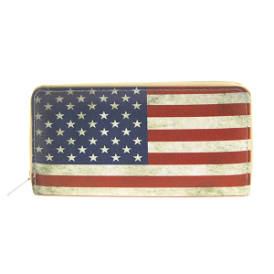 Bijorca WT326X0010AM zipper wallet rustic USA flag beige