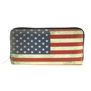 Bijorca WT326X188AM zipper wallet rustic USA flag black