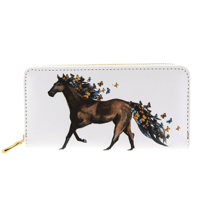 Bijorca WT377X199 zipper wallet horse with butterflies