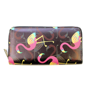 Bijorca WT377X221 zipper wallet flamingo pink black