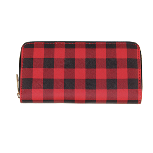 Bijorca WT377X239 zipper wallet plaid flannel red