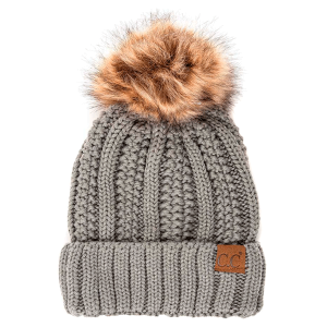 Winter CC Beanie 304a 82 cable knit faux fur pom natural gray