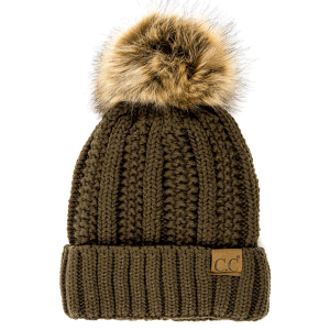 Winter CC Beanie 298b 82 cable knit faux fur pom new olive green