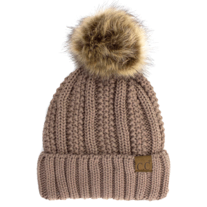 Winter CC Beanie 311b 82 cable knit faux fur pom taupe