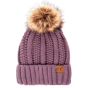 Winter CC Beanie 307a 82 cable knit faux fur pom violet