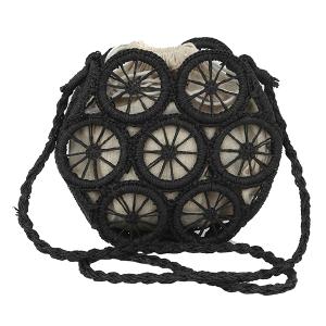 Handbag Republic YW-0012 straw wheel crossbody black
