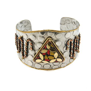 Bracelet 535P 40 Icon collection silver bracelet cuff red/yellow/gold amulet