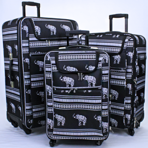 ak NLU-Ele-BW 3pc rolling luggage boho elephant black white