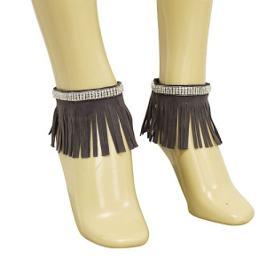 anklet 042h 40 crystal fringe gold gray