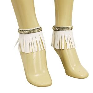 anklet 043e 40 crystal fringe gold white
