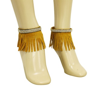anklet 073c 40 crystal fringe gold brown