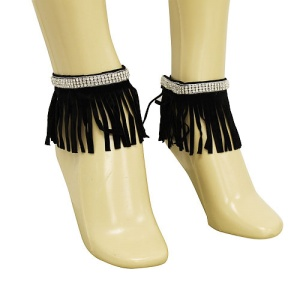 anklet 086b 40 crystal fringe gold black